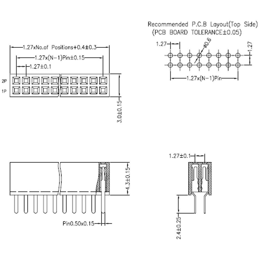 10PCS Gold Plated 1.27mm Pitch Male 2x5 Pin 10 Pin Gerade Pin Header Strip