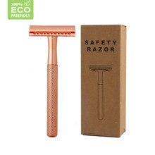 HAWARD Double Edge Classic Manual Safety Razor For Men's Face Shaving Female Rose Gold Hair Removal Razor 20 Shaving Blade