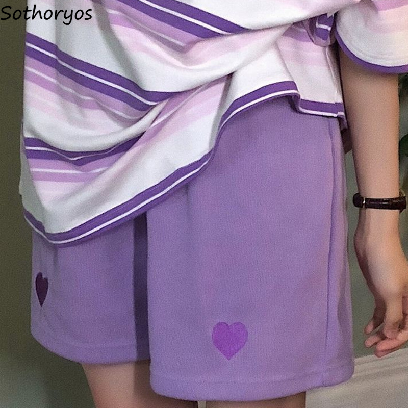 Women Sleep Bottoms Solid Elastic Waist Cotton Soft Cozy Sleepwear Knee Length Embroidery Chic Teens Harajuku All-match Hipsters