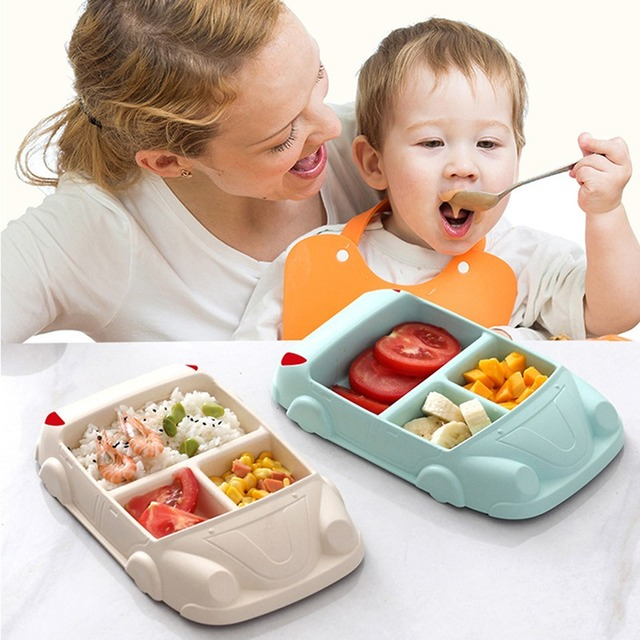 Baby Food Containers Infant Bamboo Fiber Training Dishes Baby Feeding Sets Children Tableware Car Shape Bowl Cup Plates