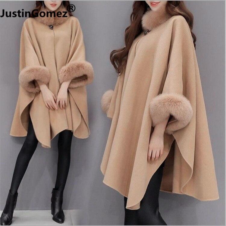 Spring Autumn Faux Fox Fur Collar Cloak Women's Woolen Coat Plus Size Female Winter Coat Thicker Korean Coat Female Large Size