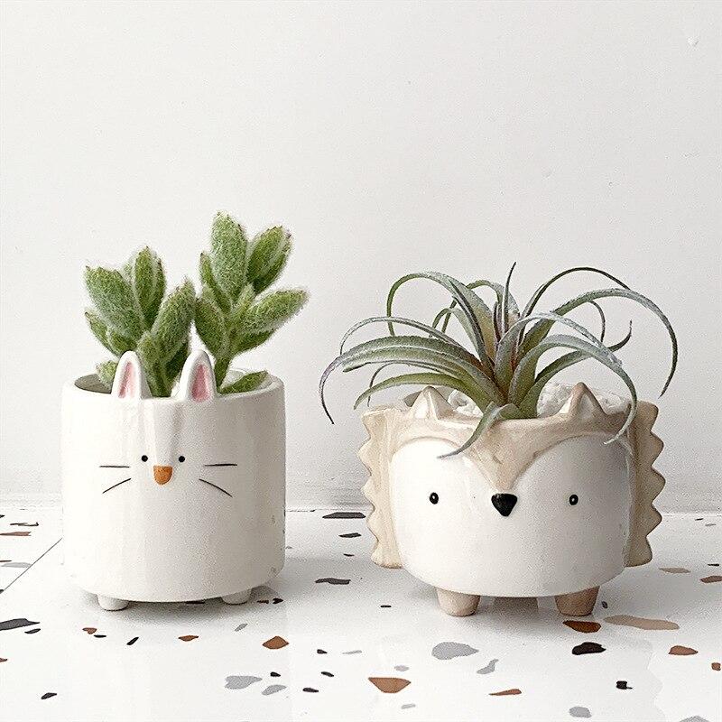 Succulents Flower Pot Ceramic Small Animal Flower Pot  Mini Garden Plant Pot Home Decoration Planter Plant Flower Pot