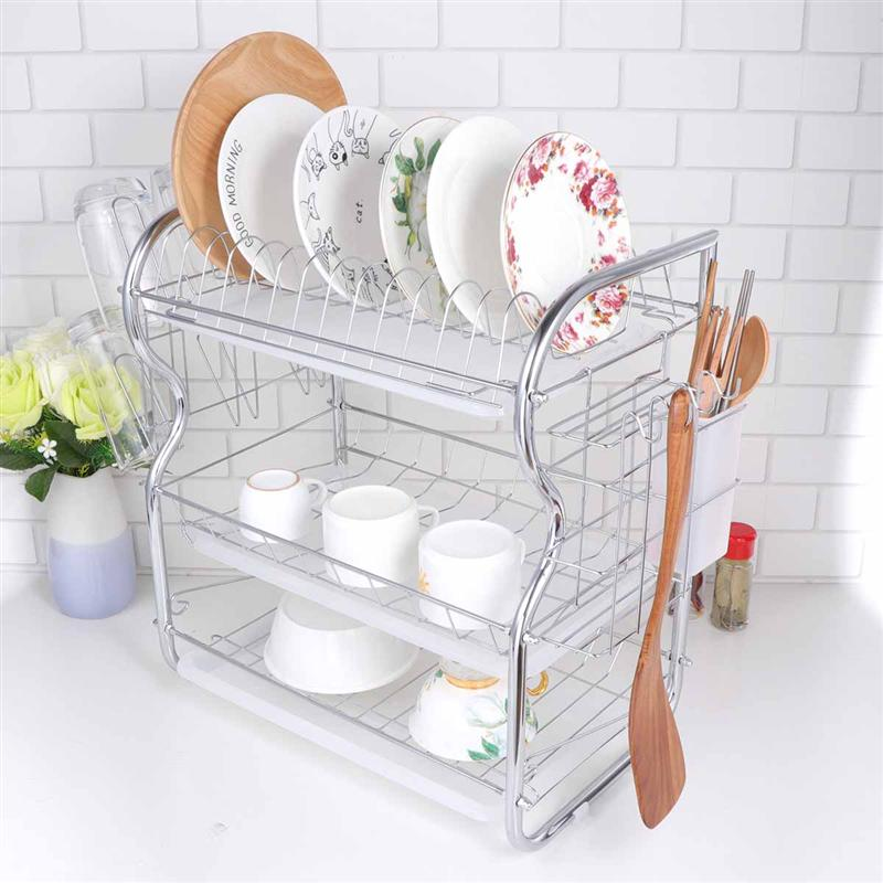 Sink Holder Kitchen Cutlery Rack Drain Storage Rack S-shaped 3 Layer Cutlery Stand Dish Rack Kitchen Cutlery Rack Plate Rack
