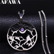 2020 Crystal Stainless Steel Statement Necklace for Women Bird Tree of Life Family Chain Necklaces Jewelry bisuteria N1245S01