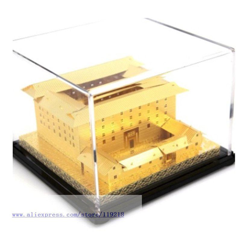 Pure Copper Ancient Building Model Fujian Tulou-Heguilou Home Window Office