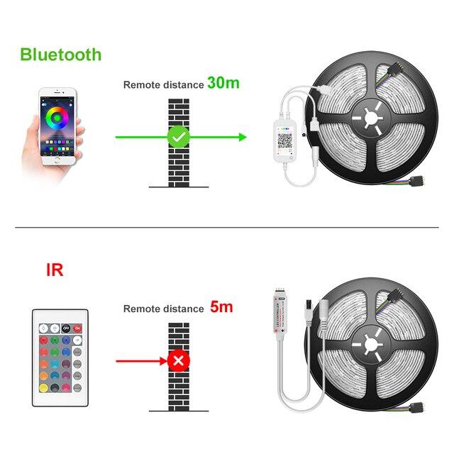 NEW Bluetooth 5050 LED Strip Light RGB SMD 2835 Flexible Ribbon fita RGB LED light 5M 10M 15M Tape Diode DC12V Bluetooth Control 2
