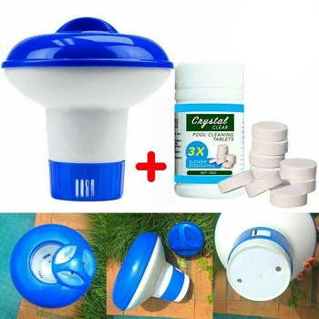 100Pc Pool Cleaning Floating Chlorine Tablets+Hot Tub Chemical Dispenser Clean