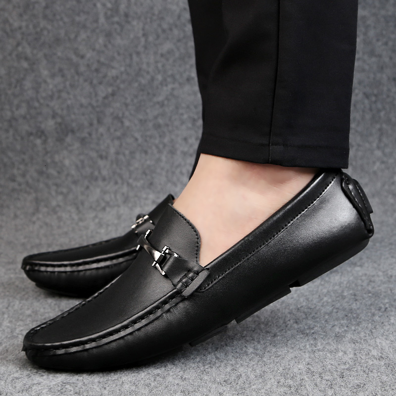 Genuine Leather Men Shoes fashion Luxury Brand Casual Slip on Formal Loafers Men Moccasins Italian Black Male Driving Shoes j3