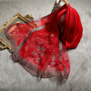 Image 4 - Hohe Qualität Frauen Seide Wolle Floral Stickerei Foulard Pashmina Hijab Schals Wraps Luxus Feste Cashmere Winter Schals