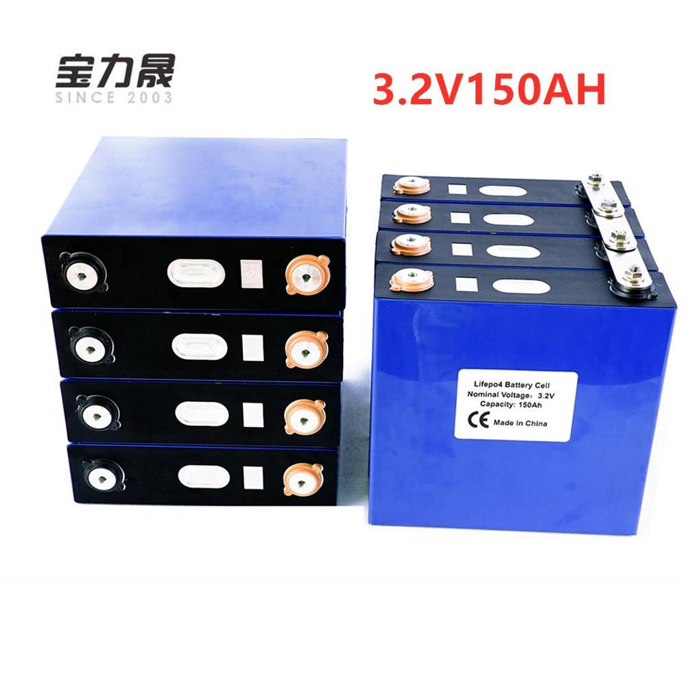Lifepo4 batterie Rechargeable 8 pièces 3.2V 150Ah Lithium fer Phosphate cellule solaire 24V150AH 12V300Ah cellules pas 120Ah ue US sans taxe