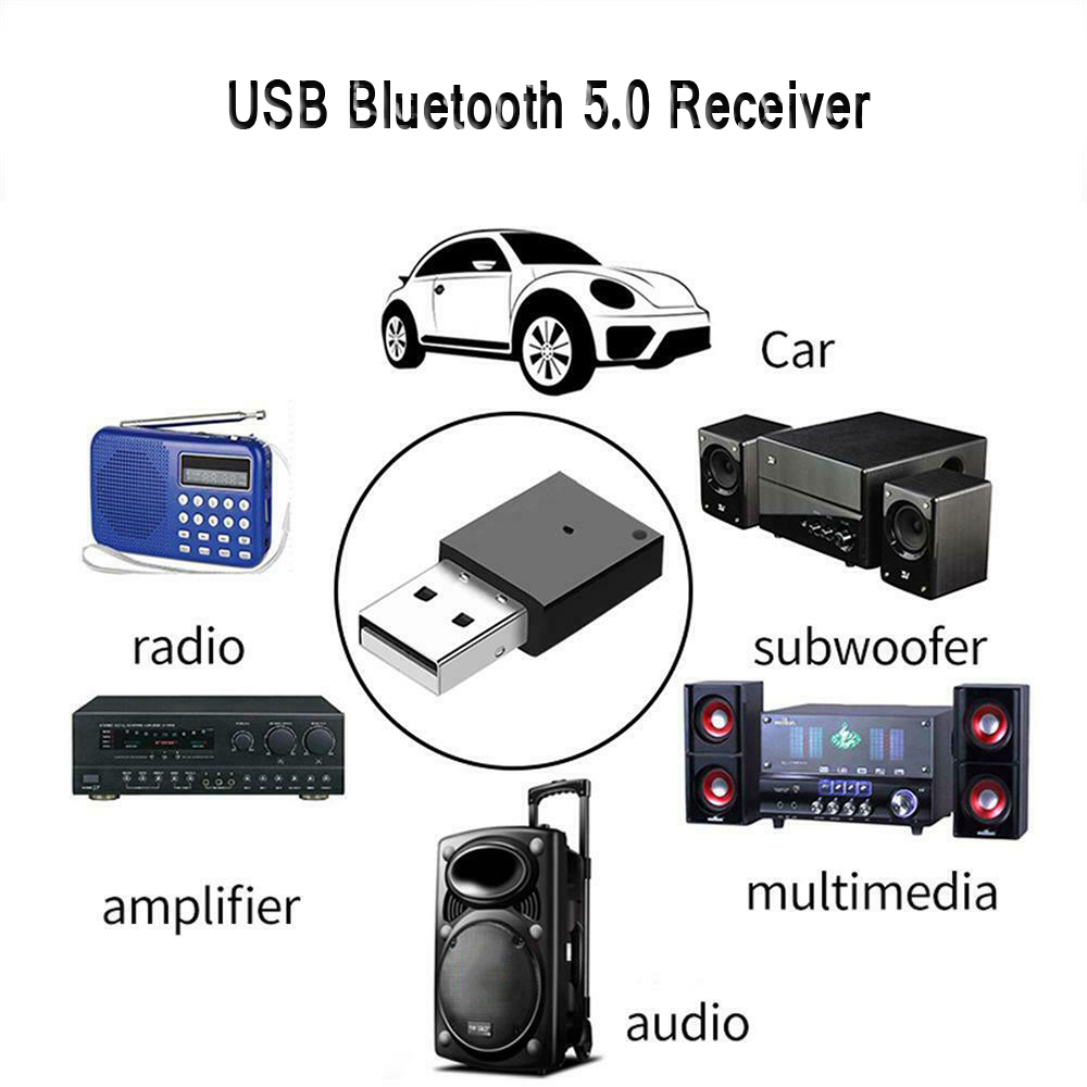 USB Bluetooth 5.0 Adapter Dongle Aux Audio Bluetooth 4.0 4.2 Speaker Music Receiver For Car Radio Amplifier Multimedia