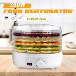 350W 32CM 5 Trays Air Dryer Food Dehydrator Fruit Vegetable Herb Meat Drying Machine Snacks Fruit Dryer Food Dryer AC110V/220V w Dehydratory od AGD na