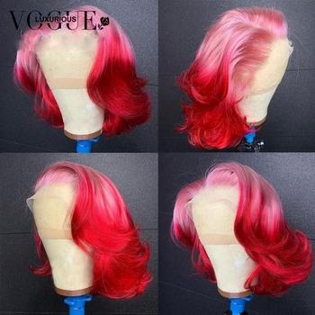 Przezroczysta 13 #215 4 koronkowa peruka na przód Ombre koronkowa peruka na przód ciało koronkowa fala przodu peruka różowa czerwona peruka Glueless brazylijski Remy peruka dla kobiet tanie i dobre opinie LUXURIOUS VOGUE krótkie falowane peruki z koronką z przodu CN (pochodzenie) Włosy remy Ludzkie włosy Pół maszyny wykonane i pół ręcznie wiązanej