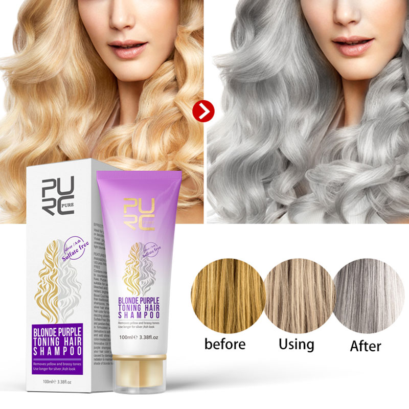 Highlighted Hair-Revitalize Hair-Shampo Blonde Purple Free-Color 100ml For Bleached