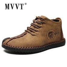 Размера плюс мужские ботинки из спилка ручной работы Ботильоны