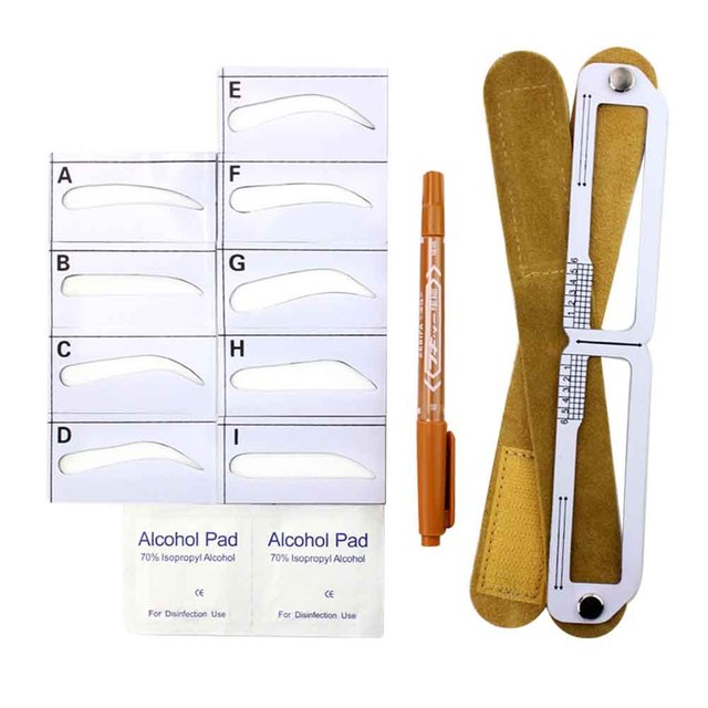Home Salon Template Card Grooming Gift For Beginners Makeup Tool Measuring Semi Permanent Eyebrow Stencil Set Magnetic Ruler 4