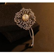 Fashion Cubic Zirconia Dandelion Flower Brooches Vintage Wedding Brooch Floral Pins Dress Clothing Jewelry Accessories Gift(China)