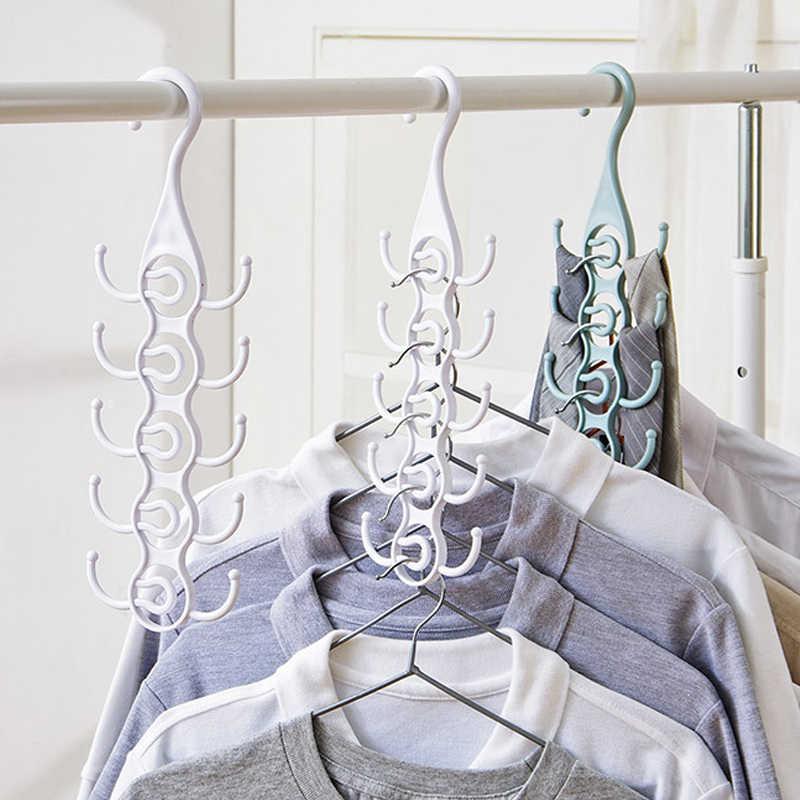 Soporte Multi-Puerto círculo ropa gancho para ahorrar espacio mágico falda secado estante plástico gancho de bufanda organizador de armario guardarropa artículo