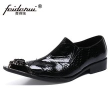 Szie 37-46 Metal Toe Slip on Man Wedding Banquet Party Loafers Patent Leather Handmade Men's Studded Prom Casual Shoes SL764(China)