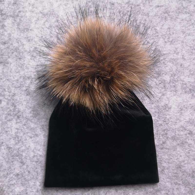 หนากำมะหยี่หมวกเด็กสำหรับทารกแรกเกิดเด็กทารกฤดูหนาว Enfant เด็กวัยหัดเดินเด็กจริงขน PomPom Beanies หมวกหมวก BEBE gorro
