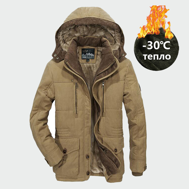 KOSMO MASA Warm Fleece Long Winter Jacket Men Hooded Waterproof Military Big Size 6XL Jacket Coat Thick Down Parka For Men MP039