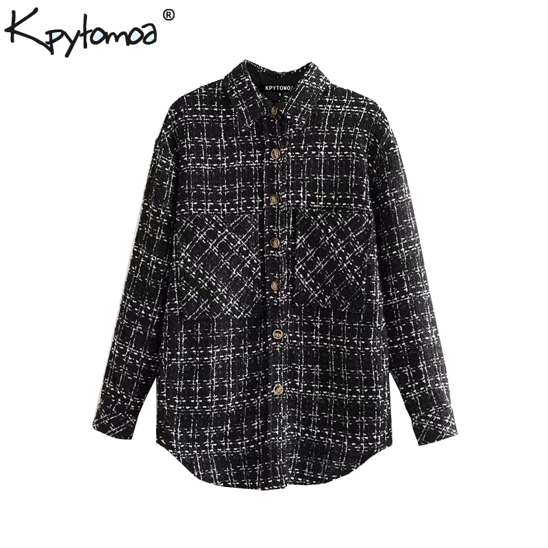 Vintage Stylish Pockets Plaid Tweed Jacket Coat Women 2020 Fashion Lapel Collar Long Sleeve Ladies Outerwear Chic Tops Chaqueta
