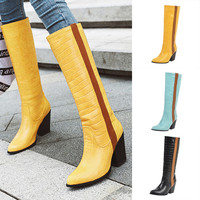 High Quality Women's Boots New Female Pointed Toe Stone Pattern Square High Boots Fashion High Tube Boot Botki Damskie Wyprzeda