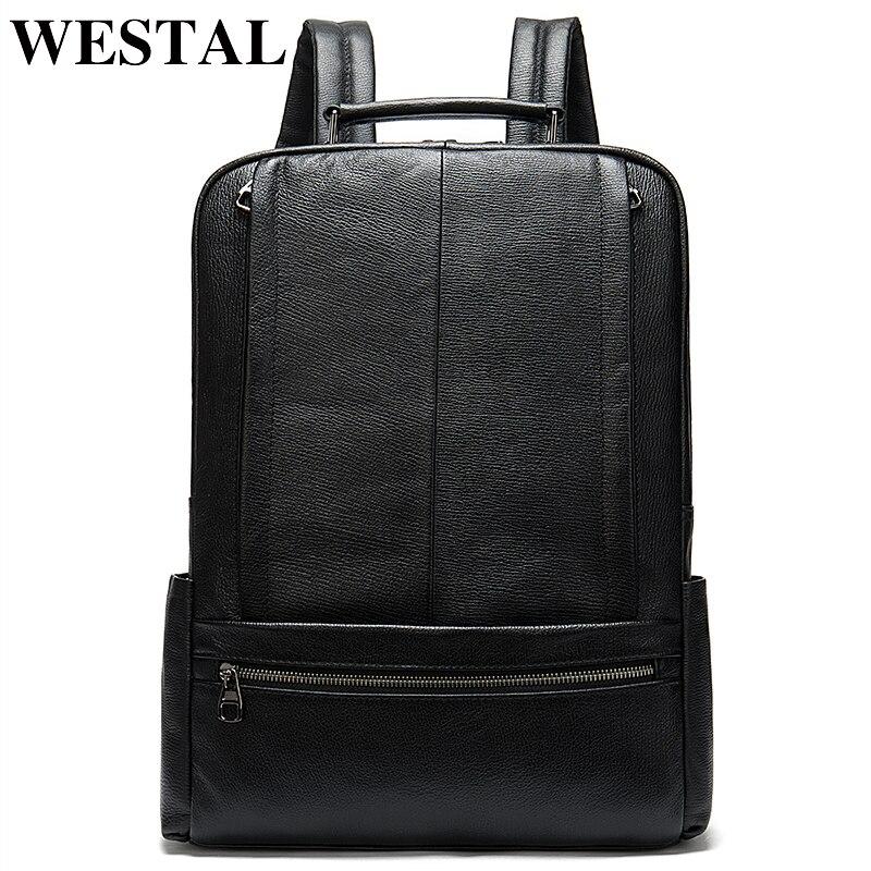 ชาย WESTAL ของแท้หนังกระเป๋าเป้สะพายหลังชาย 15 นิ้วกระเป๋านักเรียนลำลองสำหรับชายไหล่กระเป๋ากระเป๋าเป้สะพายหลัง satchel 8723-ใน กระเป๋าเป้ จาก สัมภาระและกระเป๋า บน   1