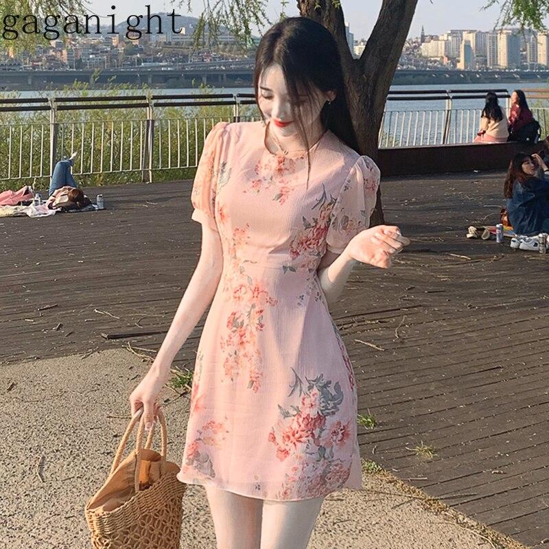 Женское шифоновое платье с круглым вырезом Gaganight, приталенное платье в Корейском стиле с высокой талией и коротким рукавом