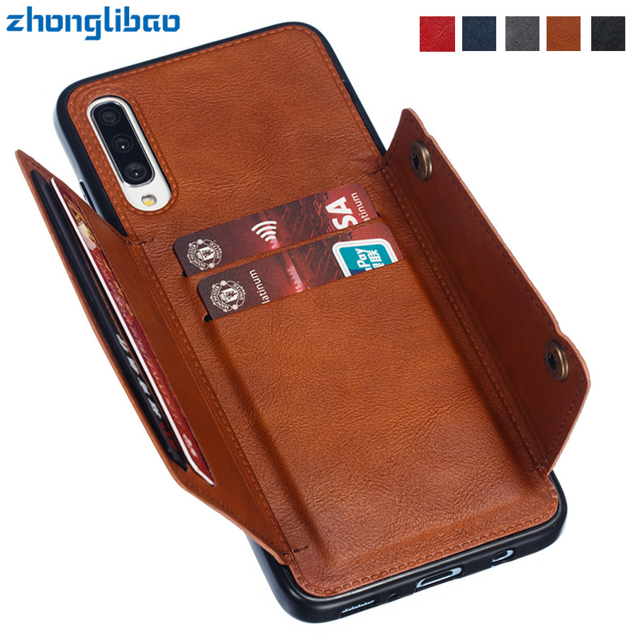 For Samsung A10 A20 A30 A40 A50 A70 A60 A80 M10 M20 M30 A50S Wallet Case Leather Card Holders Case Cover for Samsung A50 2019