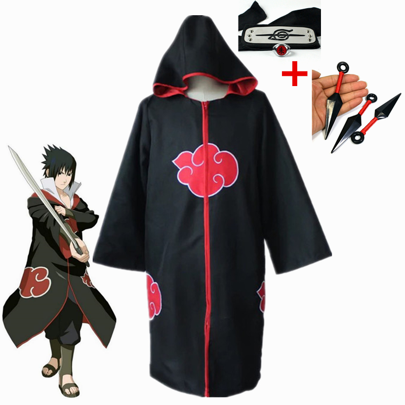 Anime Naruto Konoha Uchiha Sasuke Cosplay Costumes Taka/Hebi Hawk/Snake Cloak+Kunai+Headband+Ring Party Halloween Carnival Suit