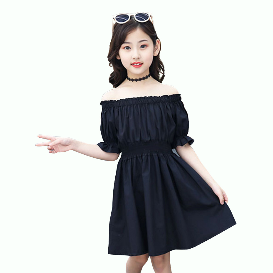 Girl Summer Dresses Solid Color Girls Dresses Casual Style Kids Dress Teenage Costumes For Girls 6 8 10 12 14