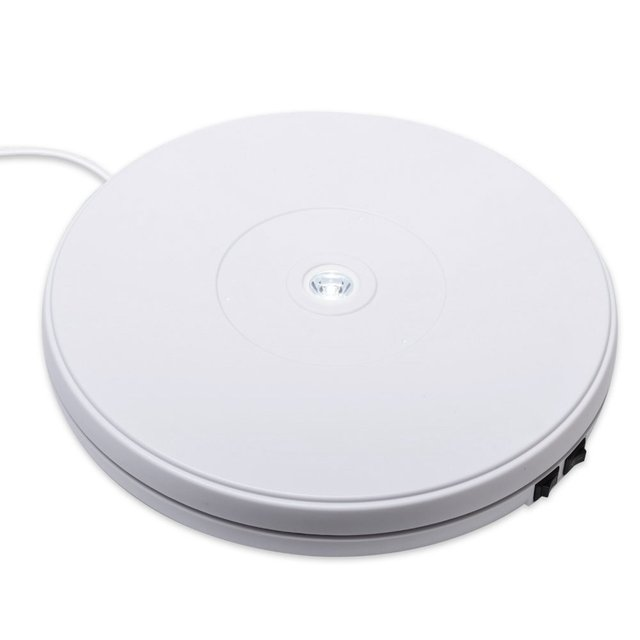 Electric Motorized Rotating Turntable Display Stand with LED 10 Inch / 25cm Diameter 20 Lb Centric Loading for Shop Display EU P