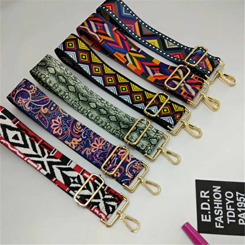 HJKL120x5cm Nylon Colored Belt Bag Strap Accessories for Women Rainbow Adjustable Shoulder Hanger Handbag Straps Decorative bag