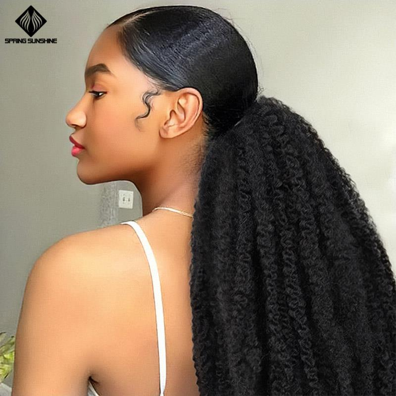 Spring Sunshine Afro Kinky Curly Ponytail Marley Braids Twist Hairpiece Frizzy Synthetic Crochet Braids Hair Extensions Bulk