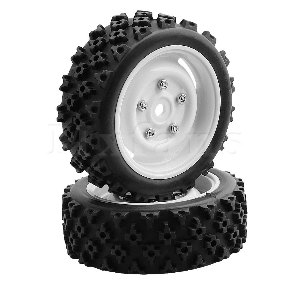Mxfans 4x White Plastic Wheel Rims with Screws & Tires 12mm Hex for RC 1:10 On-Road Rally Car