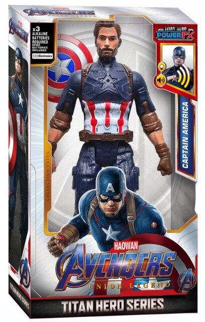 Neue Super hero Marvel Avengers Figur Puppe 30cm mit Sound Licht Spiderman Iron Man Hulk Thanos Panther Groot Geschenk für Kinder