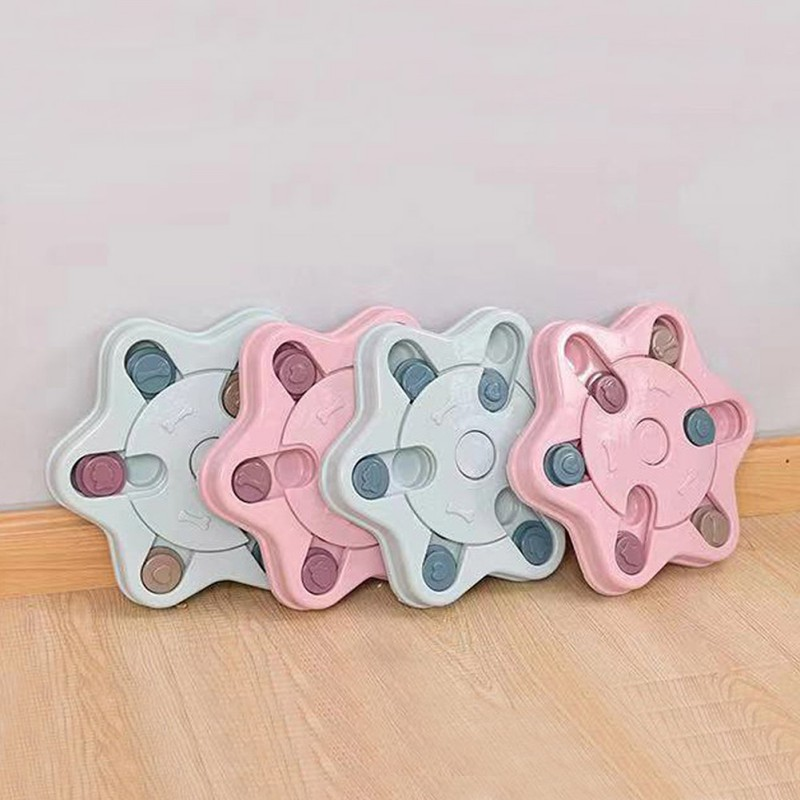 New Pet Dog Hexagon Feeder Puppy Cat Plastic  Eating Food Plate Cat Dog Leaking Food Interactive Puzzle Toy For Cat DogCM
