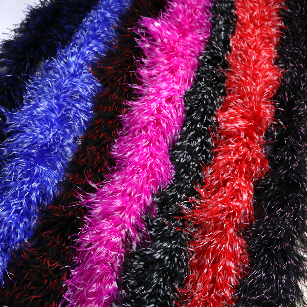 10Ply Tie-Dying Ostrich Boa feathers Wedding Dress Party Decoration Sewing Ostrich Ribbon Crafts  2 Meters
