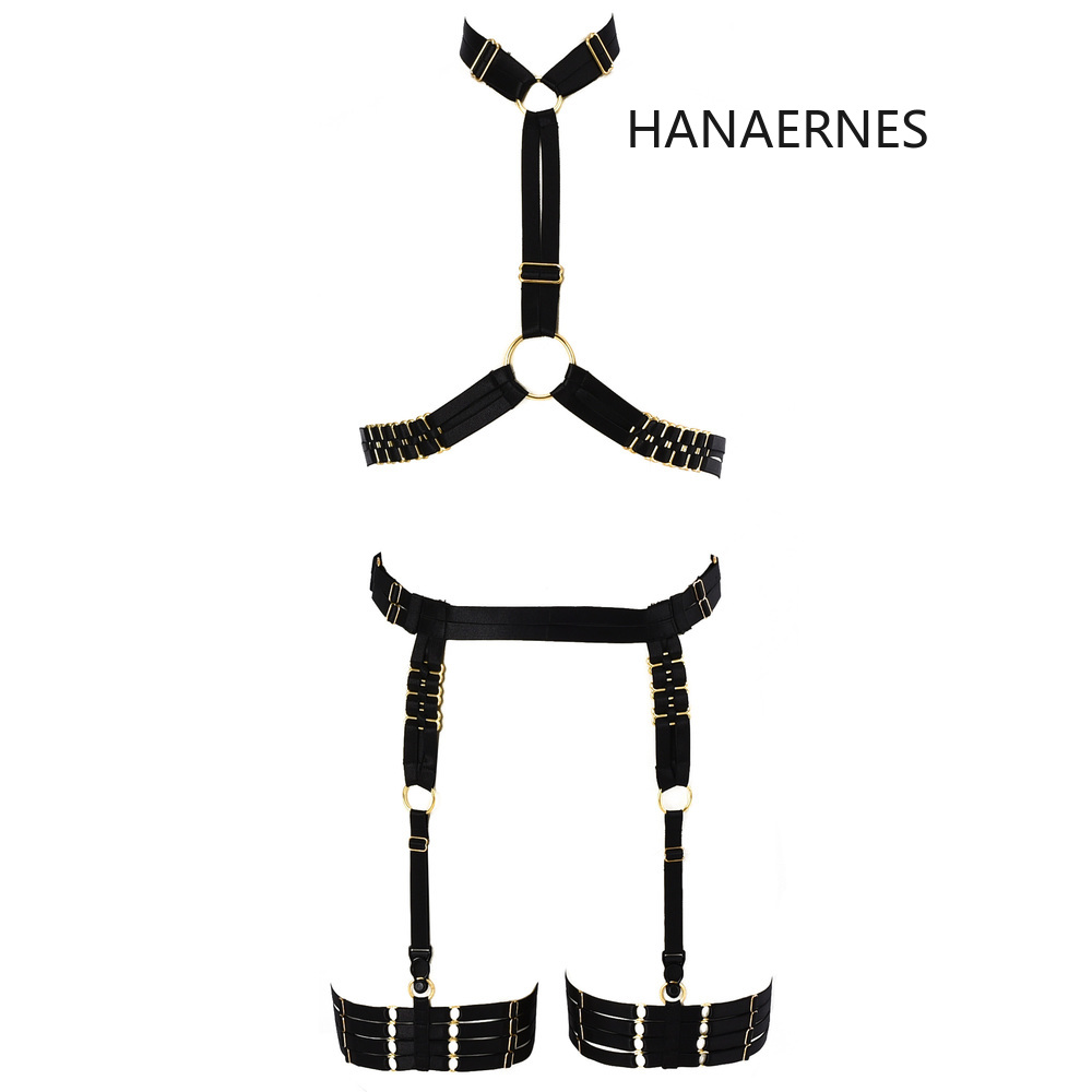 HANAERNES Woman Punk Gothic Carnival Costume Metal Buckle Full Cage Belt Underwear Garter Elastic Hollow Top Female Suspenders