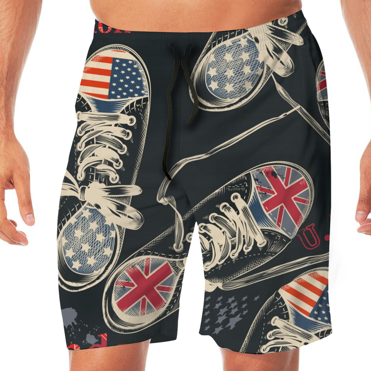 Fashion Sports Boots British And USA Flags Swimming Shorts For Men Swimwear Man Swimsuit Swim Trunks Summer Bathing Beach Wear image
