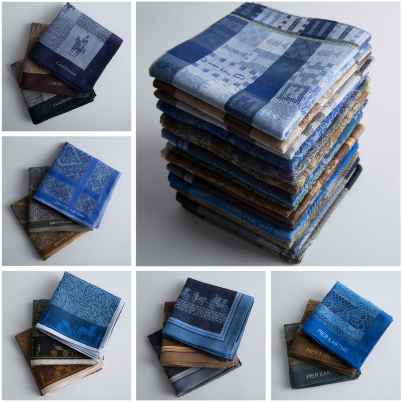6pcs/lot High-end 100% Cotton Handkerchiefs Men's Business Suit Pocket Square Handkerchiefs