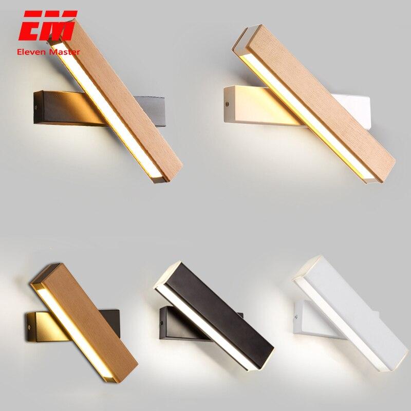 Luzes de parede modernas de madeira do diodo emissor de luz da lâmpada de parede de cabeceira arandela preto quarto nordic cabeça de direção 110-220 v para a sala de estar zbd0027