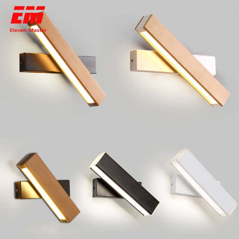 wooden modern led wall lights bedside wall lamp wall sconce black bedroom Nordic steering head 110-220V for living room ZBD0027
