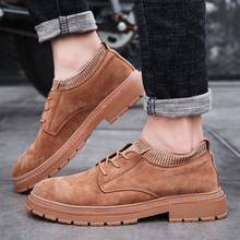 British Style Oxfords Vintage Leather Winter Men Casual Shoes Increase Non-slip Loafers Comfortable Warm Classic