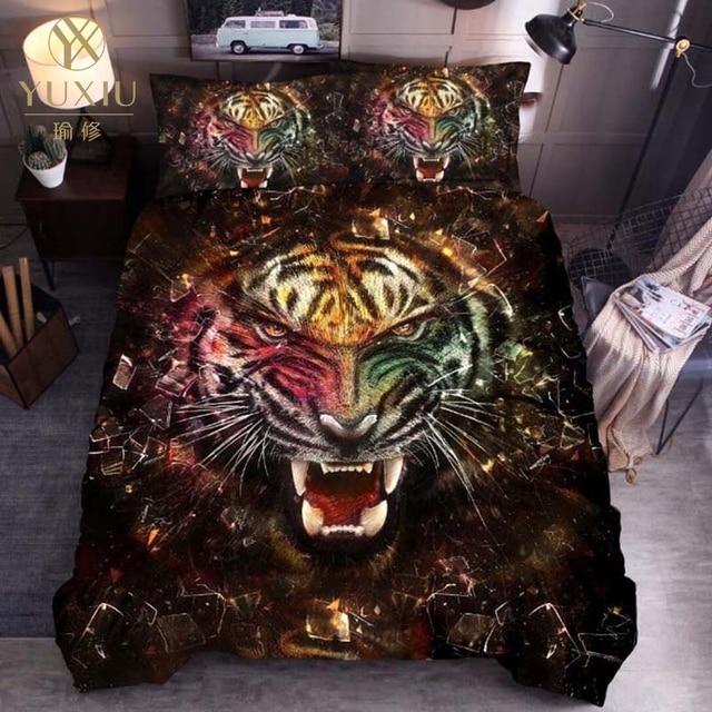 YuXiu classique housse de couette ensembles Animal tigre motif 3D linge de lit linge de lit housses de couette ensemble de literie 3 pièces pleine reine roi simple