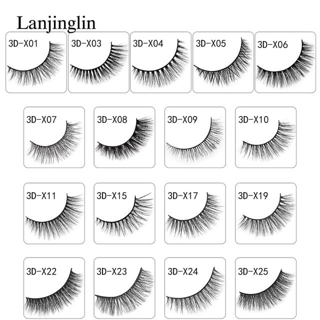 New 3 pairs natural false eyelashes fake lashes long makeup 3d mink lashes extension eyelash mink eyelashes for beauty #X11 6