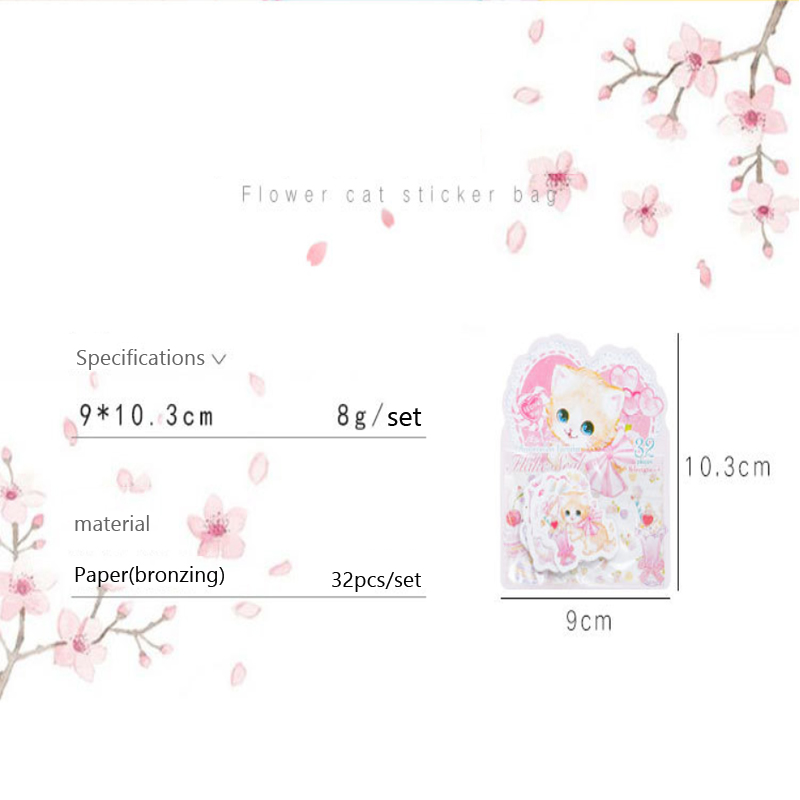 Купить с кэшбэком 32pcs/pack DIY cats flower Kawaii Planner Scrapbooking School Supplies Memo Stickers