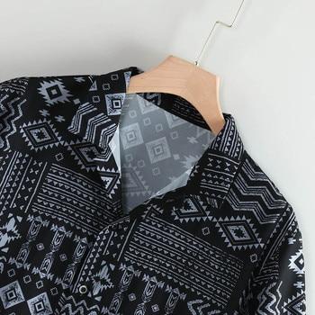 Men's Classic Summer Leaf Print Hawaiian Shirt Fashionable Lapel Short Sleeve Shirt Top Blouse Blusa Masculina Camicia Uomo #W 2