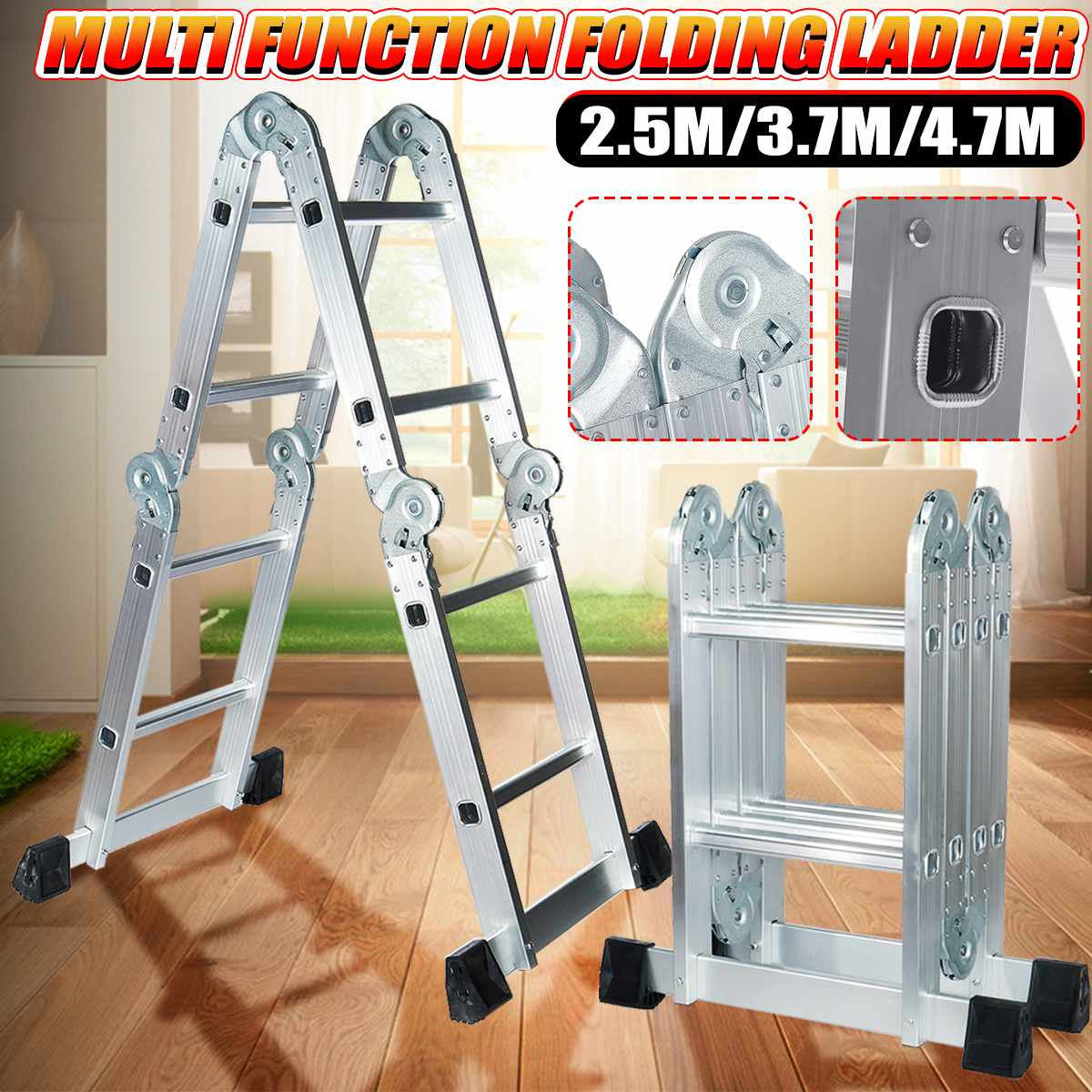 3.7m Telescopic Folding Ladder Step-Stand House Aluminium Ladders Telescoping Multi-Purpose Extension Folding Step Ladder